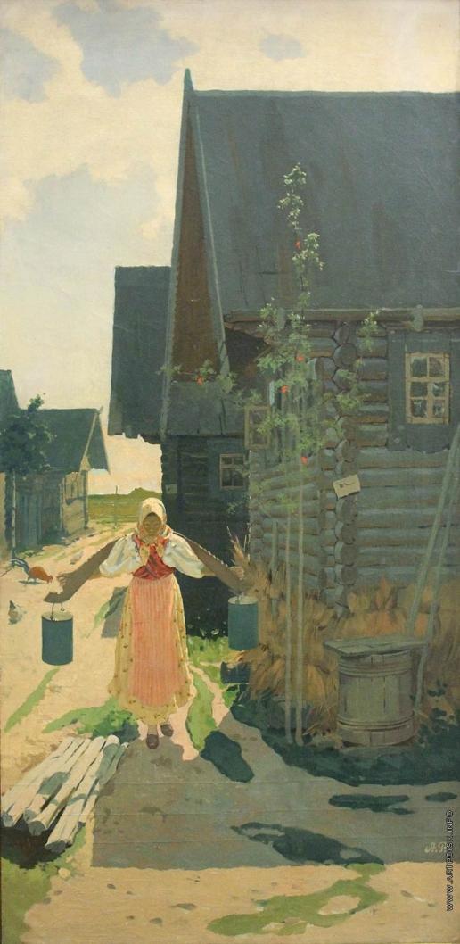 Рябушкин А. П. В деревне. Девушка с ведрами