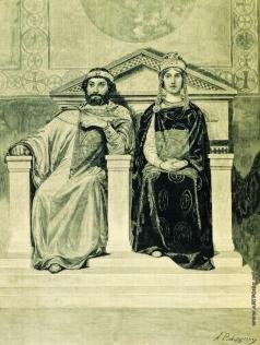 Рябушкин А. П. Владимир Красное Солнышко и его жена Апраксия Королевична
