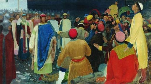 Рябушкин А. П. Князь Глеб Святославович убивает волхва на Новгородском вече (Княжий суд)