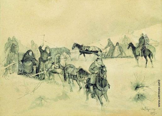 Рябушкин А. П. Проезд Марфы Посадницы и вечного колокола. 1885-