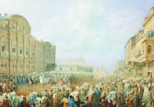 Садовников В. С. Парад на Невском проспекте (возле дворца Белосельских-Белозерских)