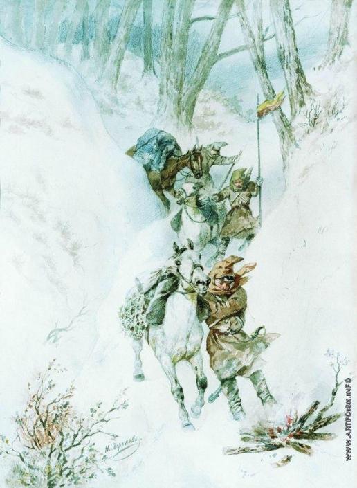 Сверчков Н. Е. Гусары. На перевале Умургач. 1877-
