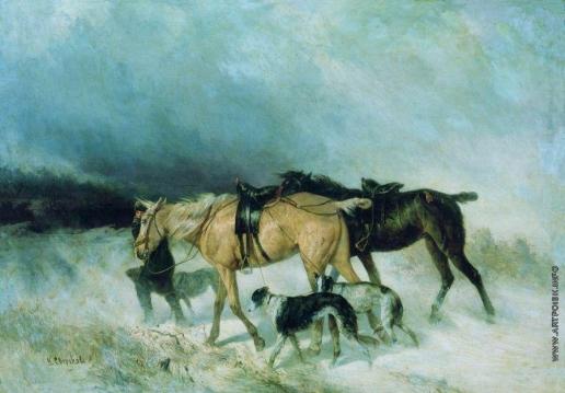 Сверчков Н. Е. Лошади и борзые