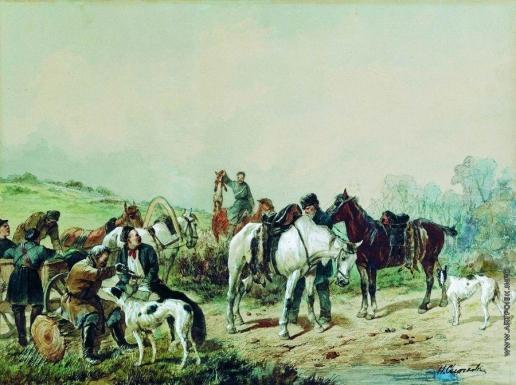 Сверчков Н. Е. Охотники. Привал на охоте