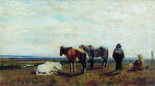Сверчков Н. Е. Пасущиеся лошади