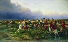 Сверчков Н. Е. Царь Алексей Михайлович с боярами на соколиной охоте близ Москвы