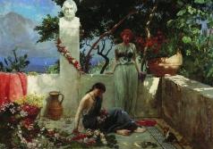 Семирадский Г. И. Девушки на террасе у бюста Гомера