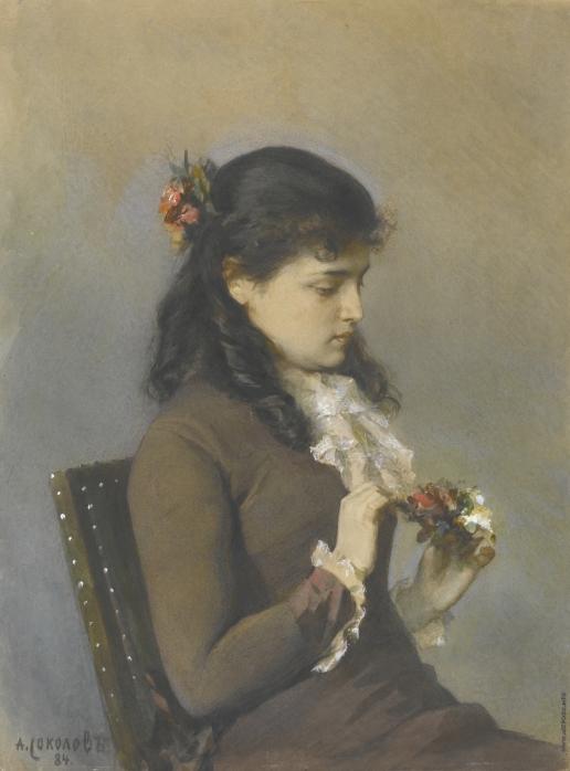 Соколов А. П. Портрет дочки художника с цветами