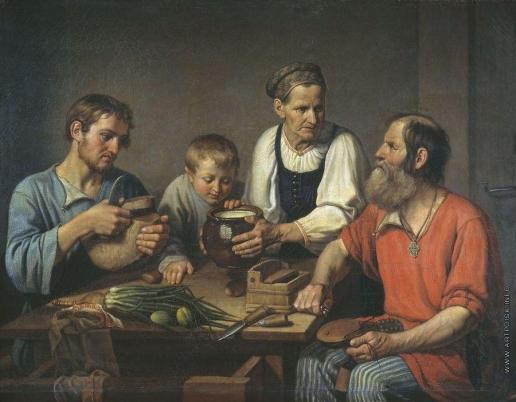 Солнцев Ф. Г. Крестьянское семейство перед обедом