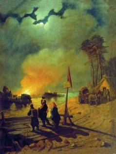 Соломаткин Л. И. Пожар в деревне. Сцена у парома (Пожар на Волге)