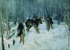 Степанов А. С. Волки в зимнем лесу. 1900-