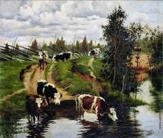 Степанов А. С. Коровы на водопое
