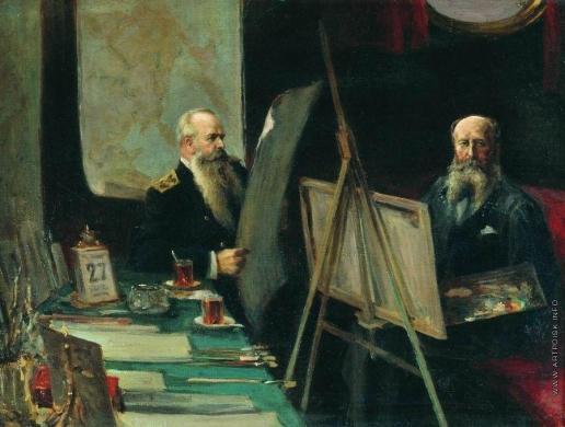 """Столица Е. И. Вице-адмирал С.О. Макаров и художник-баталист В.В. Верещагин в каюте броненосца """"Петропавловск"""" в 1904 году"""