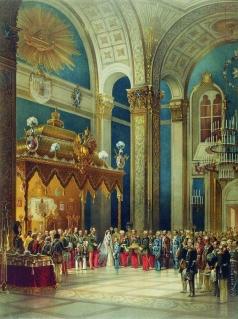 Тимм В. Ф. Поздравление, приносимое казачьим войском Александру II в Успенском соборе
