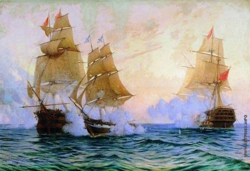 "Ткаченко М. С. Бой брига ""Меркурий"" с турецкими кораблями 14 мая 1829 года"