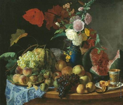 Торопов Ф. Г. Натюрморт с цветами и фруктами