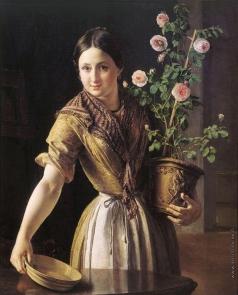 Тропинин В. А. Девушка с горшком роз