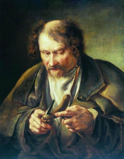 Тропинин В. А. Старик, обстругивающий костыль