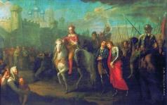 Угрюмов Г. И. Торжественный въезд Александра Невского в город Псков после одержанной им победы над немцами