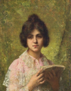 Харламов А. А. Молодая женщина, держащая книгу