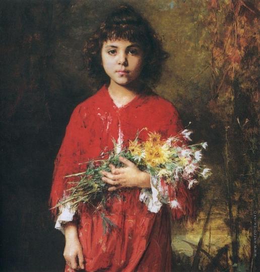 Харламов А. А. Портрет девочки с букетом цветов