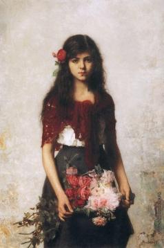 Харламов А. А. Портрет девочки с красной шалью