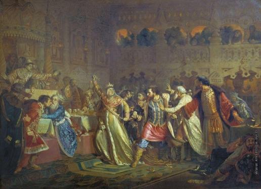 Чистяков П. П. Великая княгиня Софья Витовтовна на свадьбе великого князя Василия Темного в 1433 году срывает с князя Василия Косого пояс, принадлежащий некогда Дмитрию Донскому