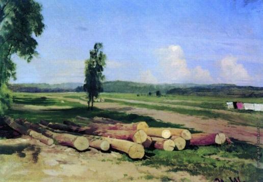 Шишкин И. И. Бревна. Деревня Константиновка близ Красного села. 1868-