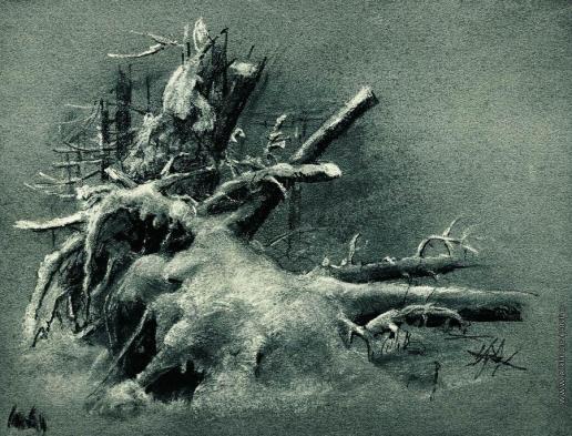 Шишкин И. И. Выкорчеванные пни под снегом
