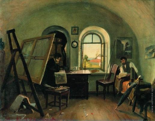 Шишкин И. И. И.И.Шишкин и А.В.Гине в мастерской на острове Валааме