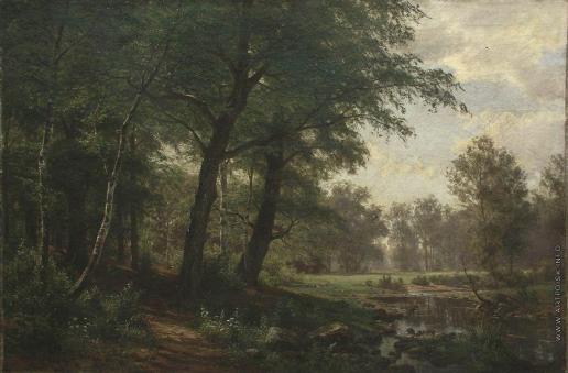 Шишкин И. И. Лесной пейзаж с ручьем