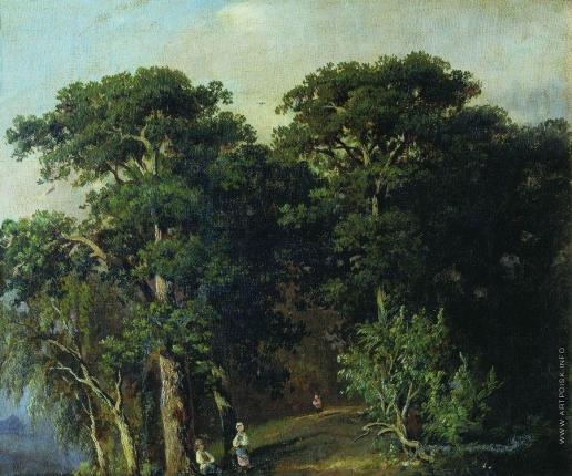 Шишкин И. И. Лесной пейзаж с фигурами
