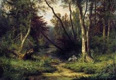 Шишкин И. И. Лесной пейзаж с цаплями