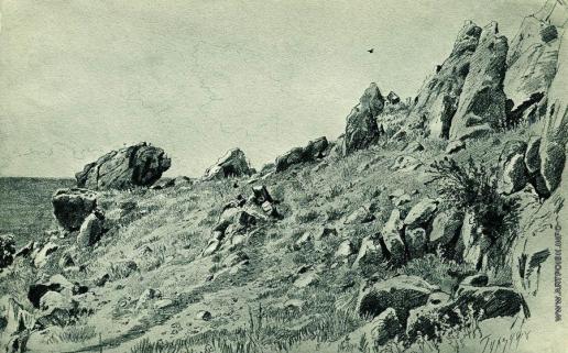 Шишкин И. И. Скалы на берегу моря. Гурзуф