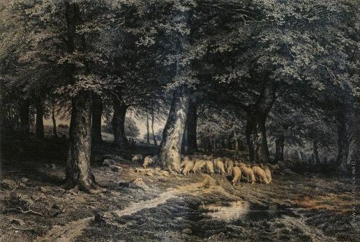 Шишкин И. И. Стадо овец в лесу