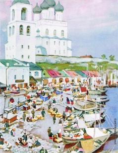 Юон К. Ф. Лодки у берега. Псков