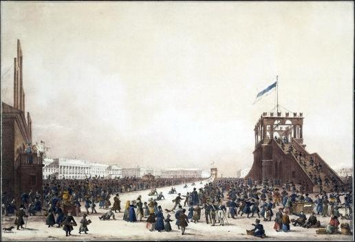 Беггров К. П. Масленичное гуляние с катанием с гор на Царском лугу в Санкт-Петербурге