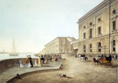 Беггров К. П. Вид набережной Невы у здания Старого Эрмитажа