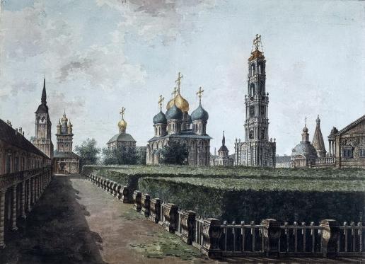 Алексеев Ф. Я. Троице-Сергиева лавра. Вид на Успенский собор, колокольню и Трапезную палату