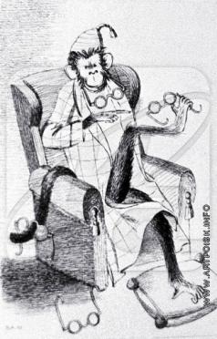 """Альтман Н. И. Иллюстрация к басне Крылова """"Мартышка и очки"""""""