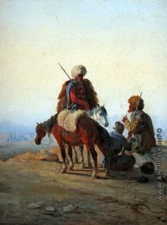 Байков Ф. И. На Кавказе. Горцы на привале