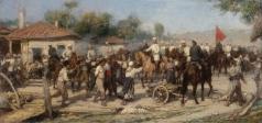 Ковалевский П. О.  Русские кавалеристы освобождают балканскую деревню от турков