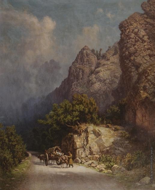 Занковский И. Н. Повозка погонщика волов в горах