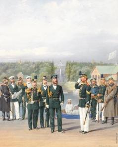 Балашов П. И. Офицеры и нижние чины у фонтана Нептун на фоне дв. в Петергофе