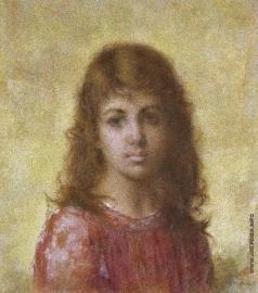 Харламов А. А. Портрет молодой девушки на желтом фоне