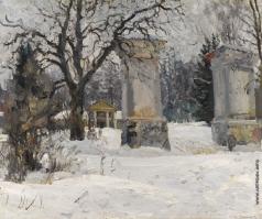 Виноградов С. А. Ворота в имение зимой