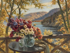 Вещилов К. А. Натюрморт с цветами на фоне  горного озера