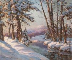 Вещилов К. А. Река в зимнем лесу