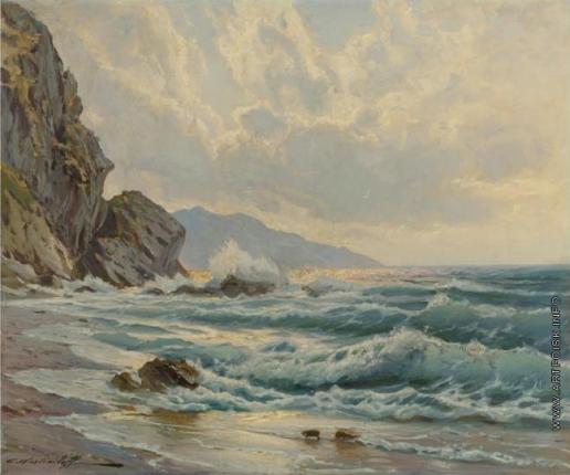 Вещилов К. А. Морской пейзаж со скалами