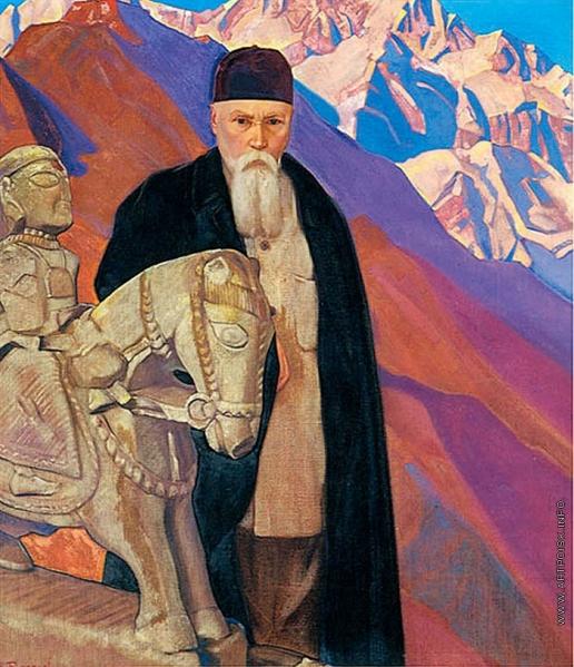 Рерих С. Н. Портрет Николая Рериха у скульптуры Гуга Чохана